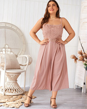 Sexy Sleeveless Sling lace piece casual Women Jumpsuit  Summer wide-leg jumpsuit Fashion XL-4XL THXDOLL