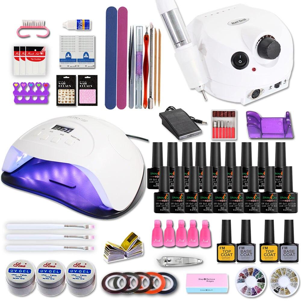 2020 Nail Set For Manicure Kit Gel Nail Polish Set With 35000/20000RPM Nail Drill Machine 84/54W Nail Lamp Nail Art Tools