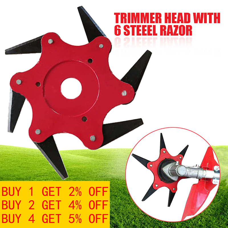 Grass Trimmer Head 6 Blades 65Mn Brush Cutter Weed Brush Cutting Head Easy Cutting Garden Power Tool Accessories