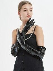 60cm(23.6 ) lange klassische plain patent leder abend oper lange handschuhe schwarz