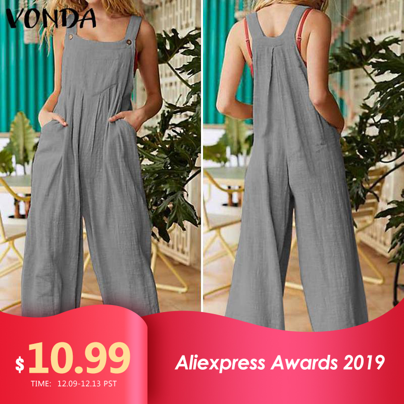 Overalls Rompers Women Jumpsuit 2019 VONDA Summer Wide Leg Jumpsuit Plus Size Casual Loose Cotton Pantalon Solid Strap Pants 5XL