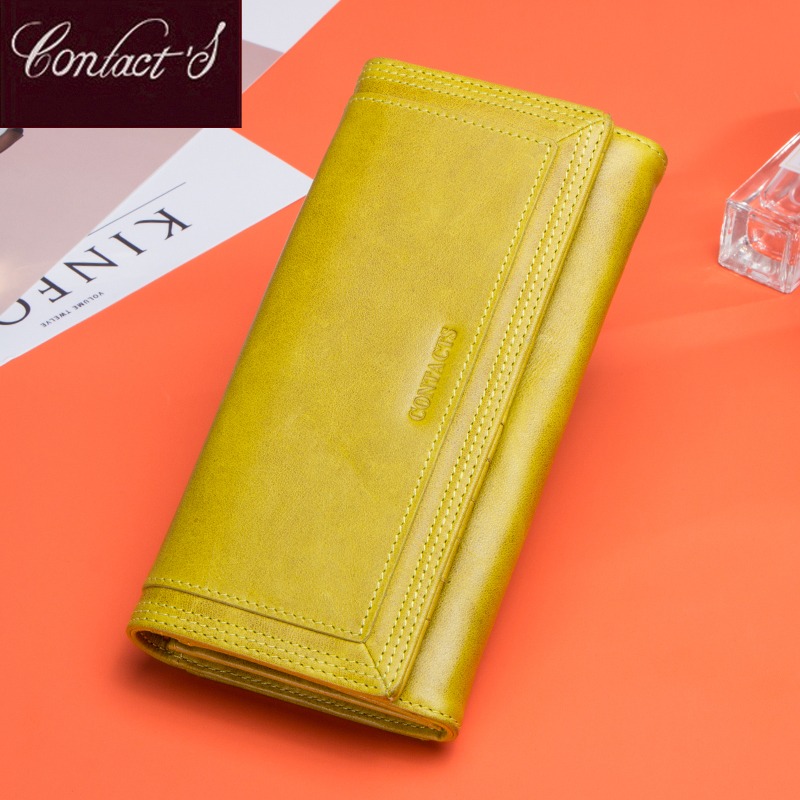 Contact's Genuine Leather Wallet Women Luxury Long Card Holder Wallets Red Ladies Clutch Coin Purse Phone Wallets Girls Portfel