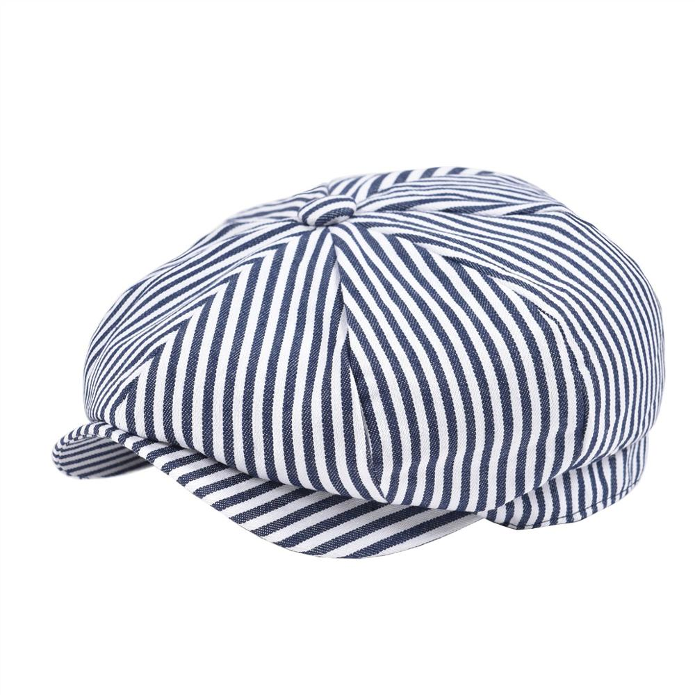 VOBOOM Summer Twill Cotton Newsboy Cap Navy Blue White Stripe Ivy Caps 8 Panel Cabbie Men Women Gatsby Hat 146