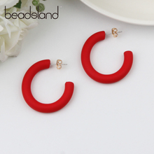 Beadsland Acetic Acrylic Hoop Earrings C Shape Ellipse Candy Color Fashion Classic Woman Girl Party Festival Hot Sell Gift 40387