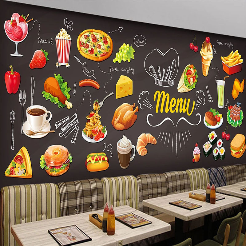 Custom Any Size Mural Wallpaper 3D Hand-Painted Foods Western Restaurant Fast Food Shop Background Wall Decor 3D Wall Painting