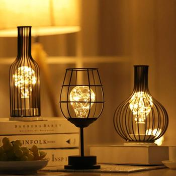 Table Lamp Copper Wire Blub Light Modern Copper Metal Style Glass Bottle Cage Shape Battery Operated for Home Office Caffe Dec