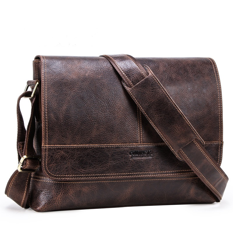 Men's Genuine Leather Briefcase Messenger Bag 13