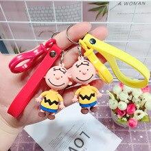 2019 New INS Cute Cartoon Charlie Brown Key Chain For Ladies Creative Car Bag Charms Accessories Anime Keychain Boyfriend Gift