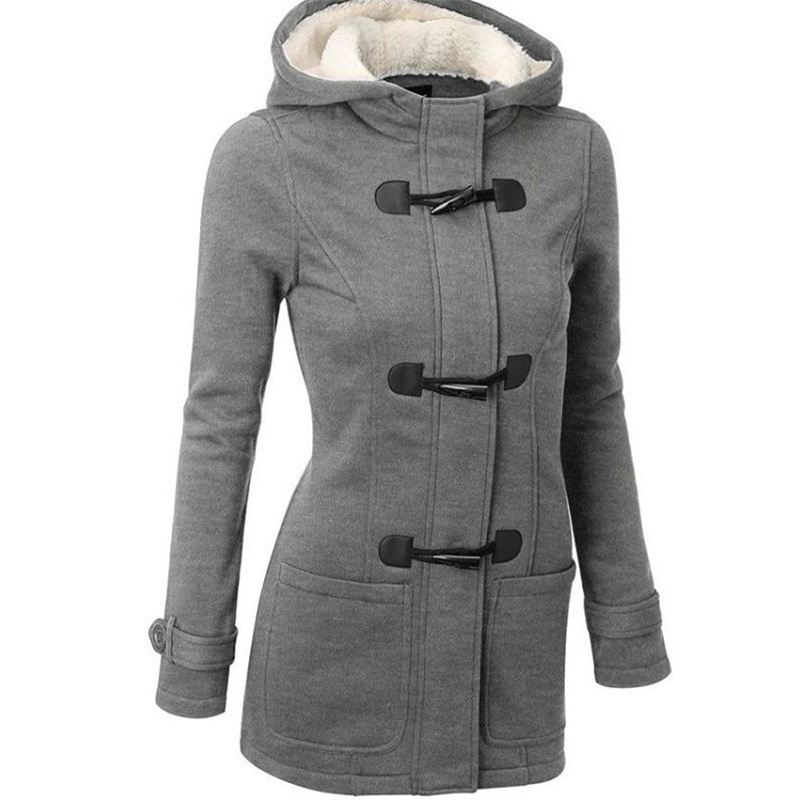 WOMEN'S  Autumn And Spring Coat  Breasted Hooded New Style Toggle Overcoat Pocket Thick Fur Mid-length Hooded Blended Jacket