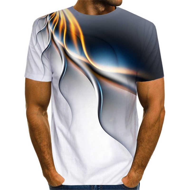재미 있은 3D 번개 T 셔츠 남자 여자 여름 유행 짧은 소매 Harajuku Streatwear 기하학 Psychedelic 3D 인쇄 된 Tshirt