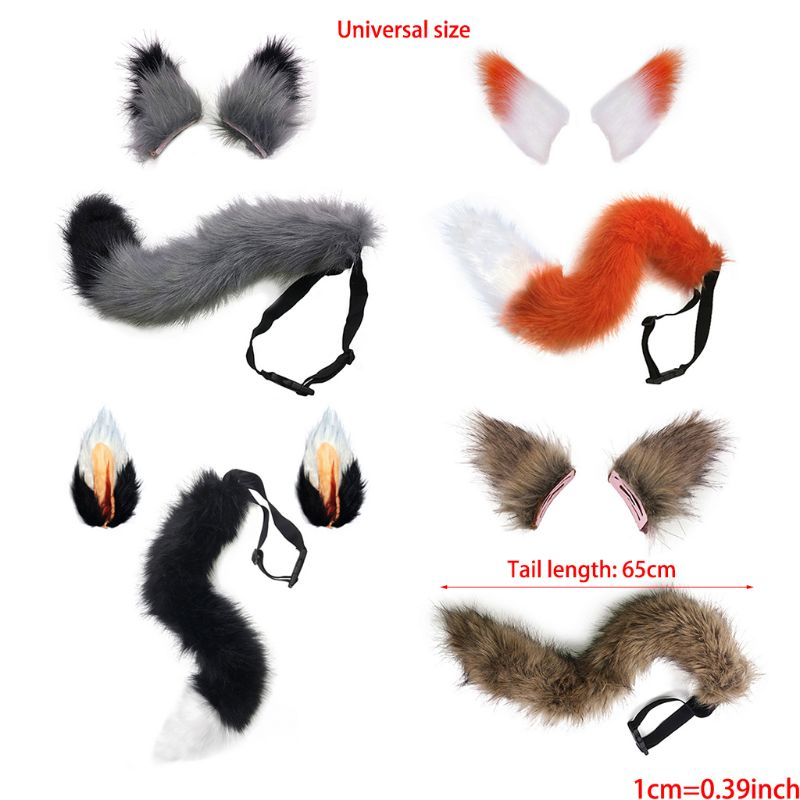 US Ship Fluffy Fox Tail or Ears For Kids Cosplay Costume Christmas Party Dress