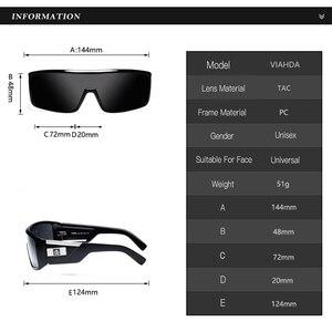 Image 3 - Viahda gafas De Sol a prueba De viento para mujer, lentes De Sol a la moda con marco grande, diseñador De marca, UV400 con funda, 2020