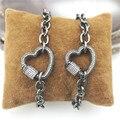 7.5 polegada 2 pçs/lote Novo design fecho bronze cz pulseira, coração fecho componente, popular cadeia rosário pulseira baratos por atacado