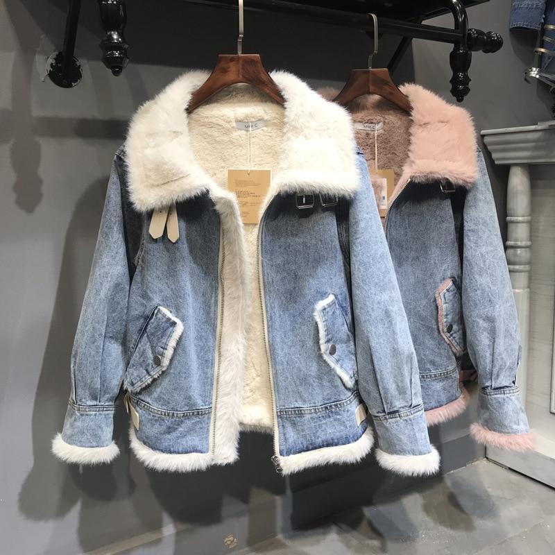 Ozhouzhan Winter Plus Velvet Jeans Coat Women's Thick Double Purpose Biker Jacket Lambs Wool Cotton Coat Fashion