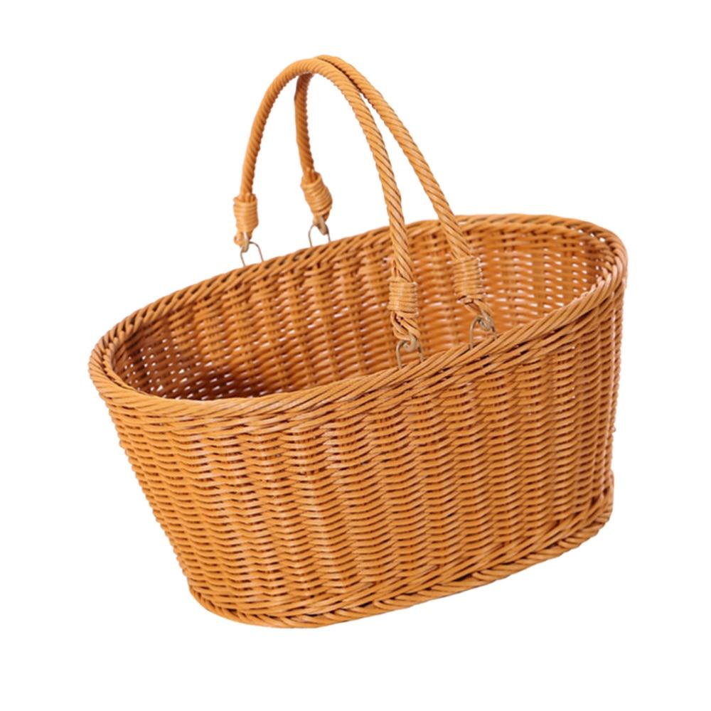 1PC Simulated Rattan Woven Basket Shopping Basket Decorative Vegetable Storage Basket Portable Picnic Basket Food Container