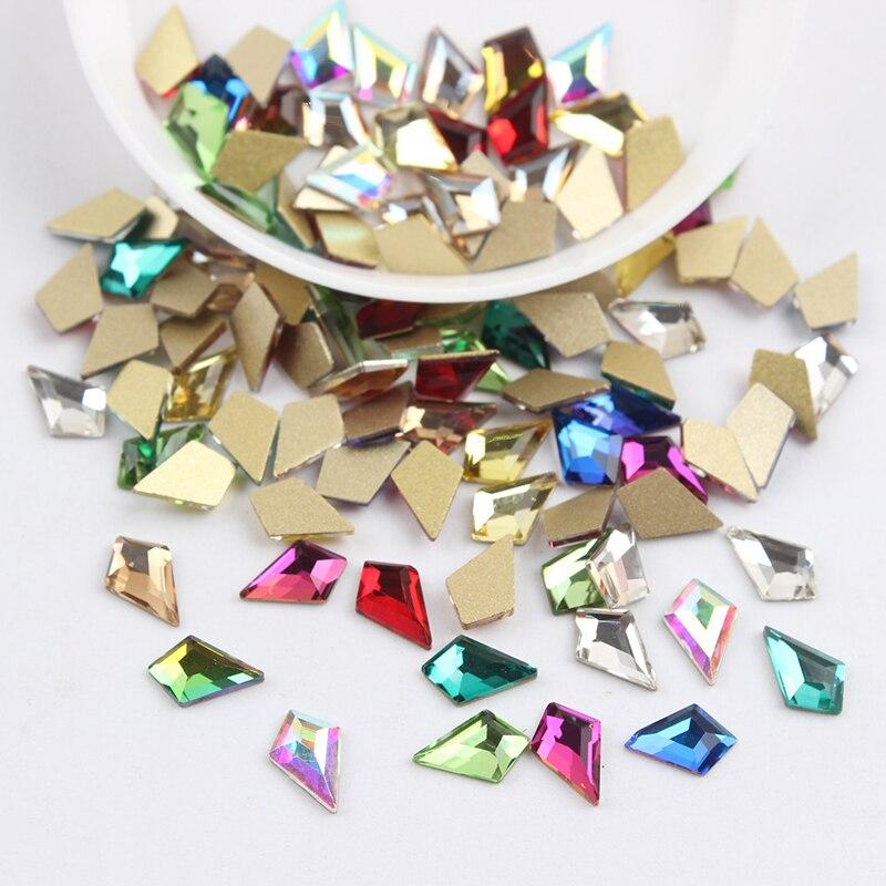 Все смешанные цвета, 30 шт, стразы для дизайна ногтей, сделай сам, без горячей фиксации, стеклянные камни для ногтей, драгоценные камни для 3D украшения для ногтей - Цвет: 5.5x8mm Arrow