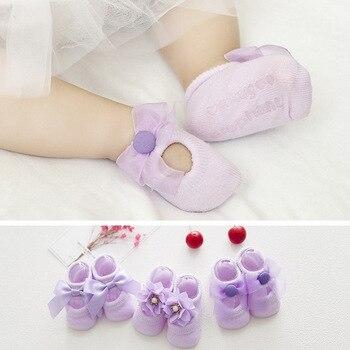 Spring Summer Infant Shoes New Hole Children Cotton Socks Baby Floor Non-slip Lace Flower Bow Toddler