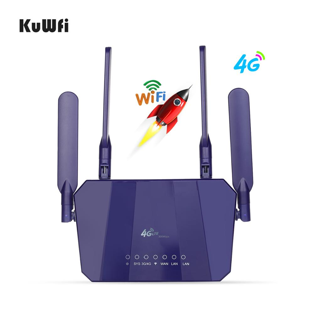 Image 2 - KuWFi 4G LTE CPE Wireless Router 300Mbps Indoor Wireless CPE Router 4Pcs Antennas With LAN Port Wifi Router SIM Card Slot-in 3G/4G Routers from Computer & Office
