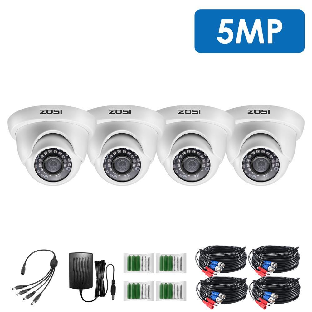 ZOSI 4pcs/lot 5MP Super HD Outdoor/Indoor Security Camera,65ft IR Night Vision,Weatherproof Surveillance CCTV Done Camera