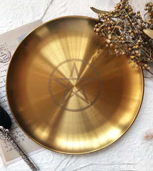 Astrology Pentagram Candlestick Table Altar Plate Candles Tile Divination Wicca Accessories Candleholder Ritual Tray Goldplating 1