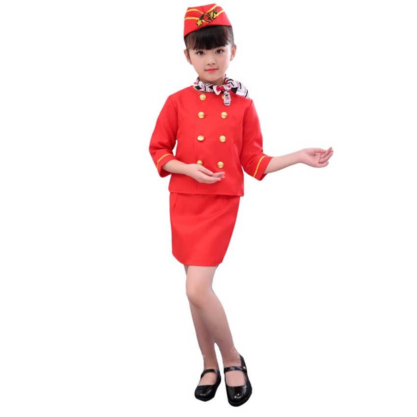 Kinder Flight Attendant Jungen Pilot Cosplay Kostüm Halloween Phantasie Party Geschenk Stewardess Air Force Maskerade Kleidung Set