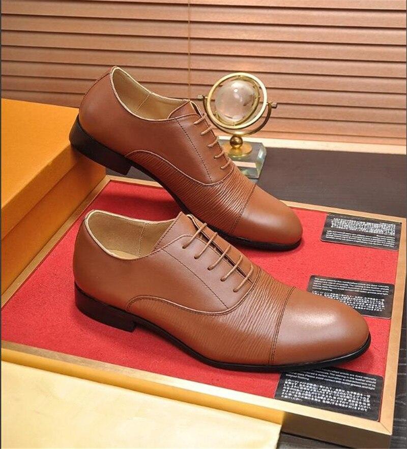 HKSZ мужские свадебные туфли из натуральной кожи в деловом стиле; Мужские модельные туфли с острым носком; мужские оксфорды на плоской подошве; размеры 38 44 - 6