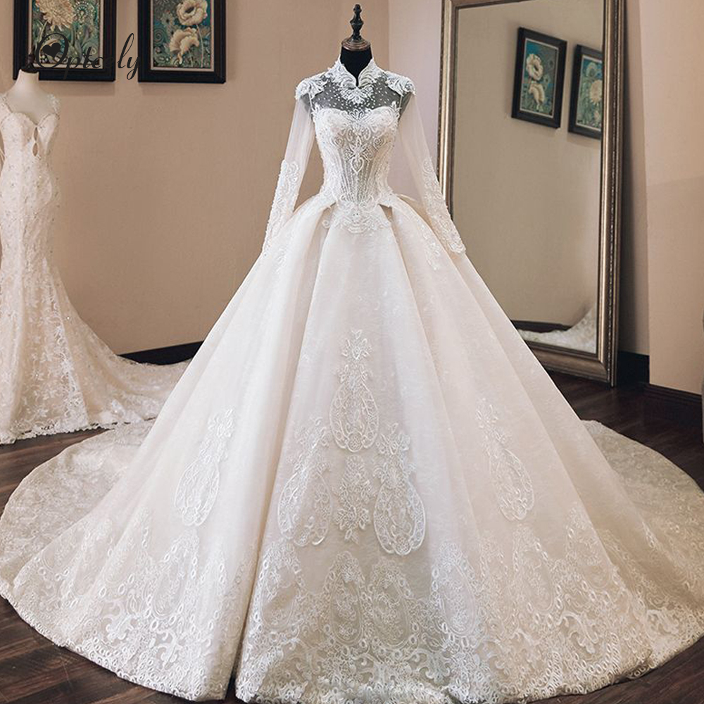Optcely Luxury Chinese Style Long Sleeve See-through White Ball Gown Wedding Dress 2019 Appliques Beaded Cathedral Train Ruffle