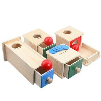 Caja redonda Rectangular Montessori de madera para niños con forma de caja redonda para juegos de monedas, juguetes Unisex para bebés de 12 meses para niños y niñas