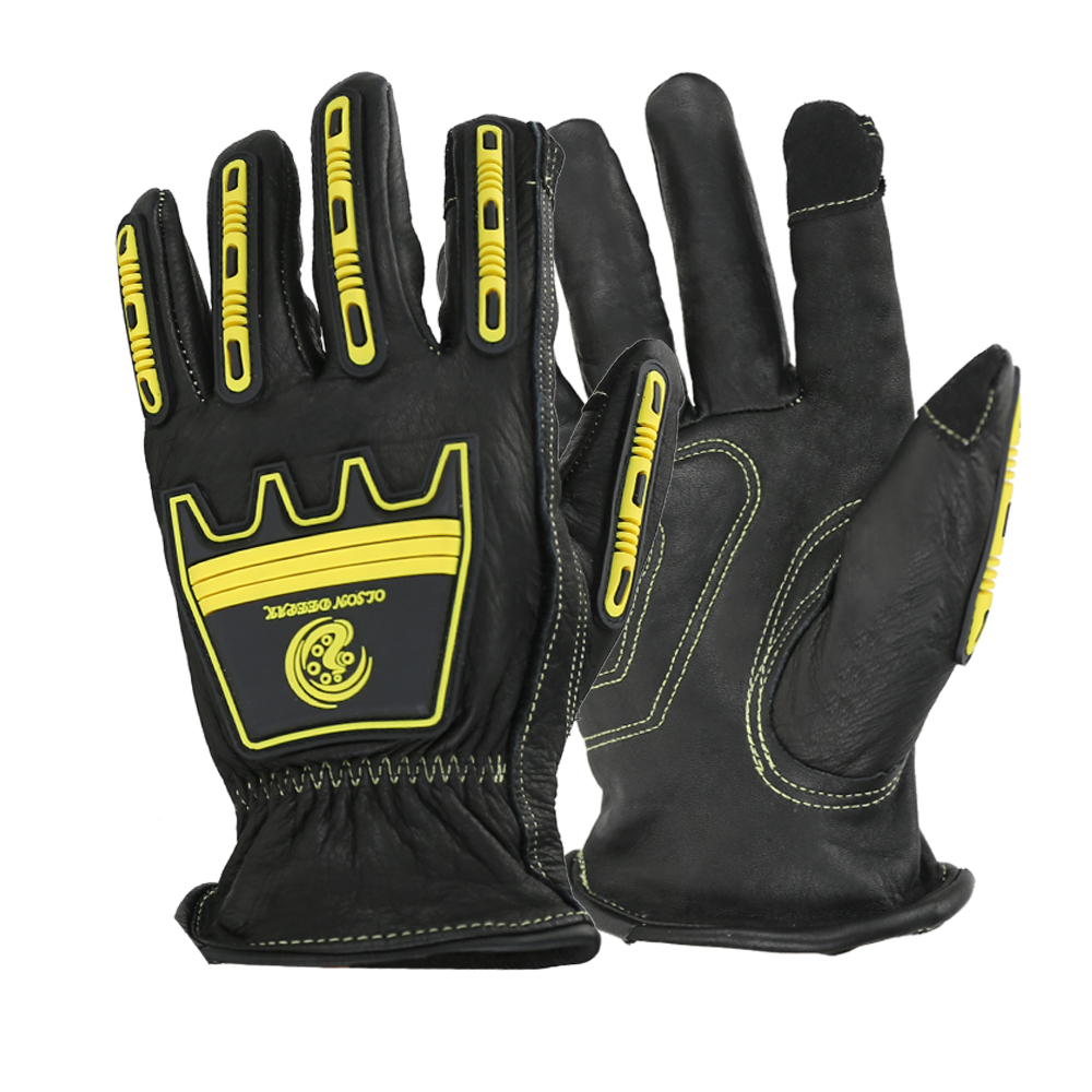 Safety Anti Impact Gloves Leather Heavy Duty Durable Black Cowhide Touch Screen Working Glove