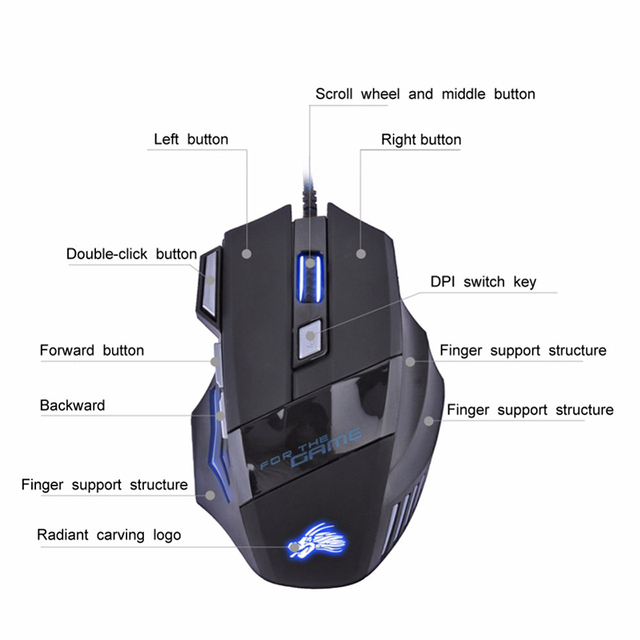 New H7 Gaming Mouse Wired 7 Buttons 5500 DPI Esports RGB Backlit Slient Mouse Professional Optical Office Mouse for PC Laptop 4