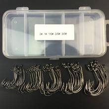 51Pcs Fishing Hooks High Carbon Steel Worm Senko Bait Jig Fish Hooks with Plastic Box(China)