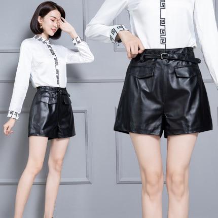 2020 Women New Real Genuine Sheep Leather Shorts KS55