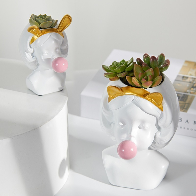 Cute Girl Blowing Bubbles Succulent Planters Vinyl Flower Pot Nordic Vase for Home Tabletop Decor Various Styles Flowerpot