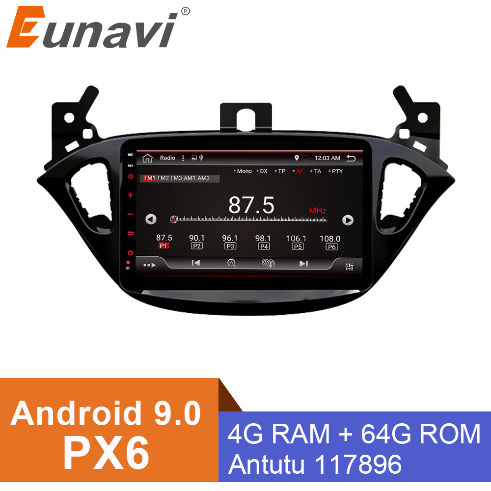 Eunavi 2 din <font><b>radio</b></font> 4G+64G android 9.0 car dvd for <font><b>Opel</b></font> <font><b>Corsa</b></font> E <font><b>2014</b></font> 2015 2016 GPS Navi WIFI car stereo PX6 2.0GHZ 8 Cores image