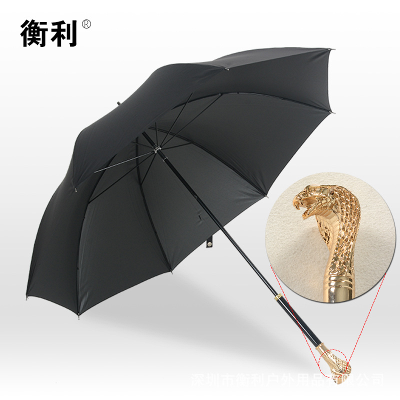 Customizable New Style Fashion Straight Pole All-Weather Umbrella Snake Head Handle UV-Protection Parasol Factory Direct Selling