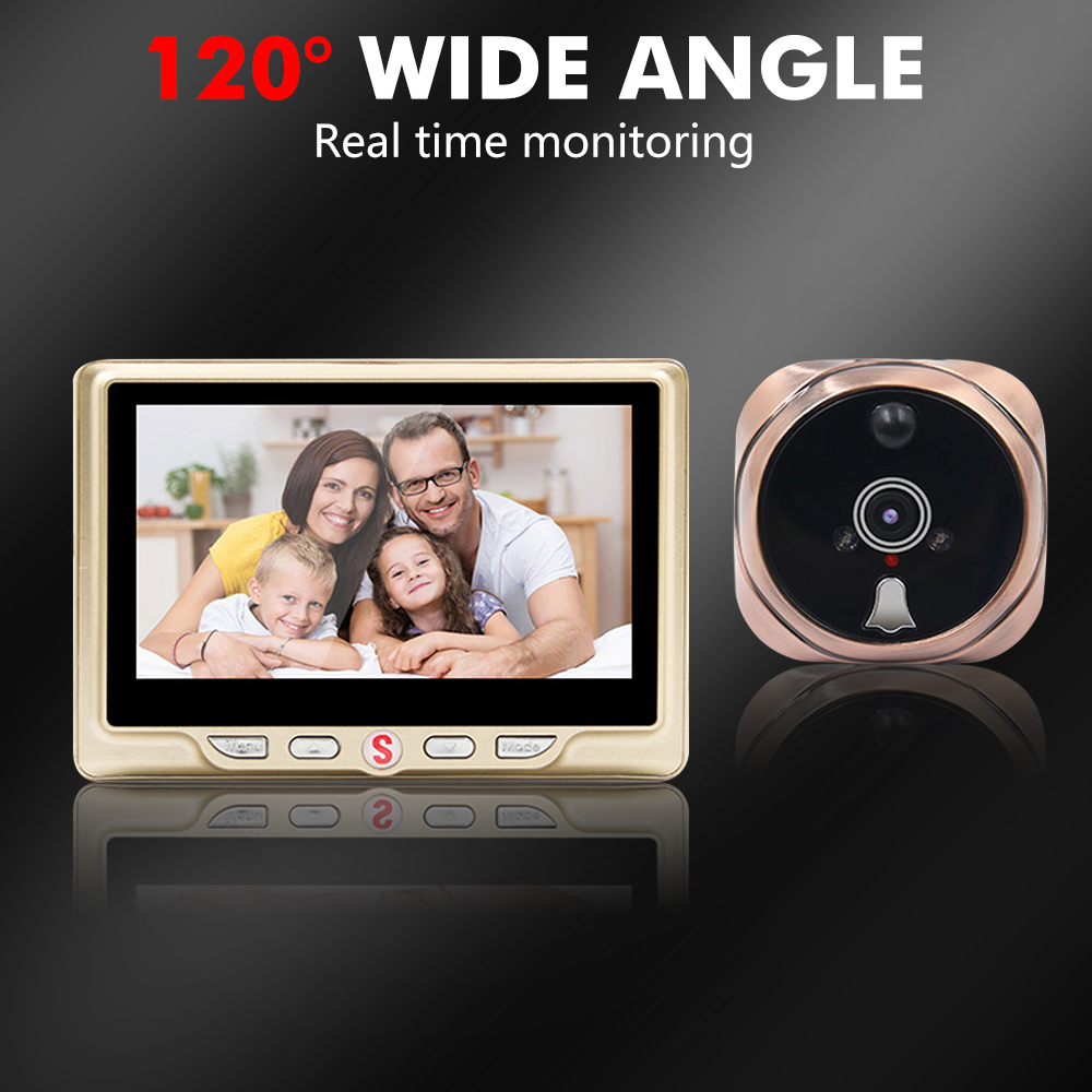 4.3 Inch LCD Screen Digital Doorbell Door Camera Motion Detect Door Peephole Viewer Clear Night Version Non-removable Battery