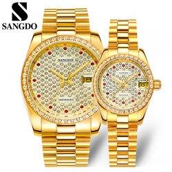 Роскошные брендовые наручные часы с полностью кристаллами для влюбленных, механические Автоматические часы, водонепроницаемые часы с кале...