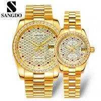 Luxury Full Crystals Lovers Brand Dress Wrist watches Mechanical Automatic Self wind Watch Calendar Full Steel Watch Waterproof