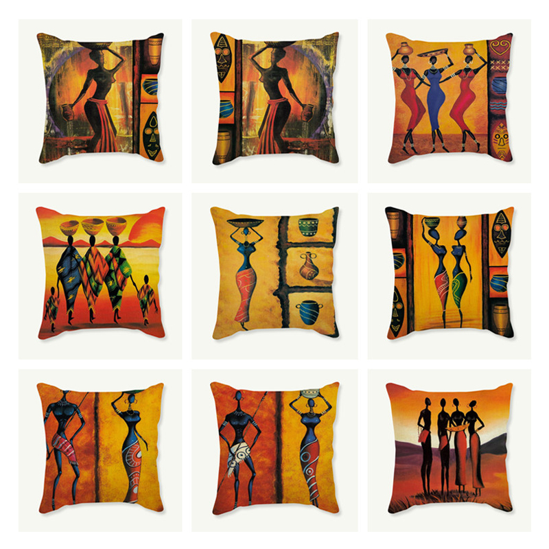 African Costume Clipart Throw Pillow 45x45 Africa Life Collection African Woman Pillowcase Sofa Car Decorative Cushion Cover