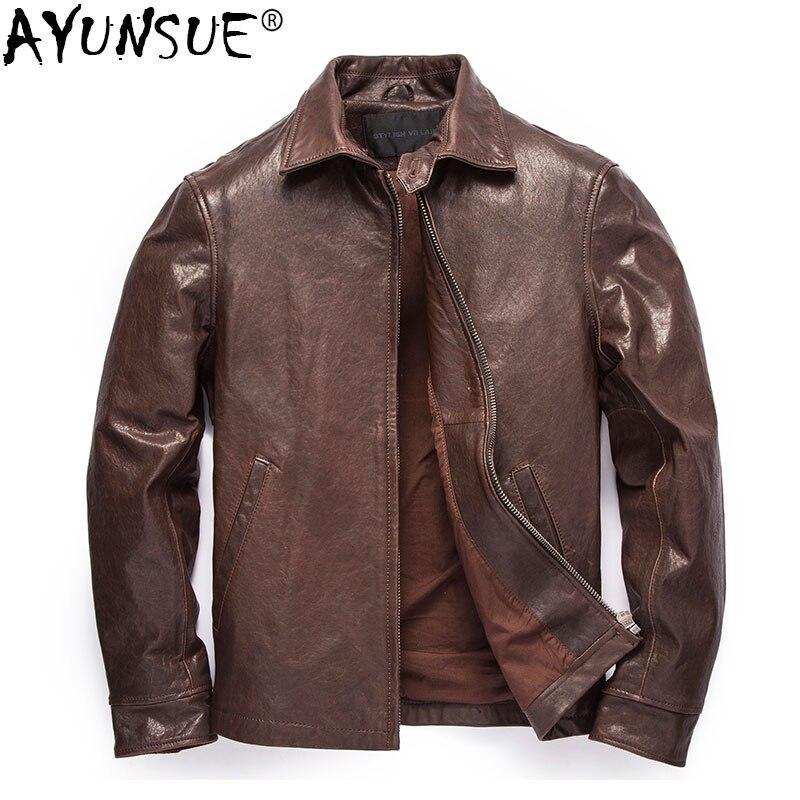 AYUNSUE Men's Leather Jacket 100% Real Sheepskin Coat Vintage Genuine Leather Jackets Men Spring Autumn Coats 2020 1339 KJ4552