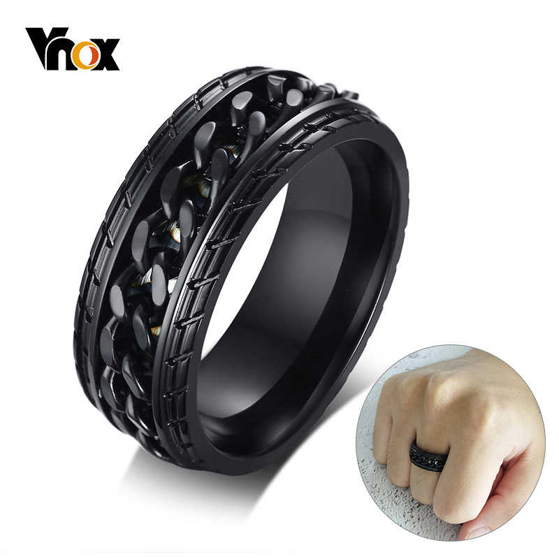 Vnox 8mm Cool Black Spinner Chain Ring for Men Tire Texture Stainless Steel Rotatable Links Punk Male Anel Alliance