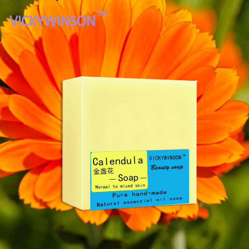 Купить с кэшбэком VICKYWINSON Calendula handmade soap 100g  Health Care Natural Soap Intimate Care With Hygiene&Calendula Extract Female Beauty