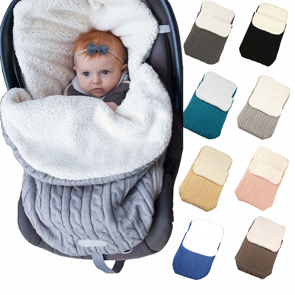 Newborn Bag Baby Stroller Sleep Sack Thicken Knitting Plus Velvet Outdoor Warm Skin Affinity Soft Baby Envelopes Sleeping Bags