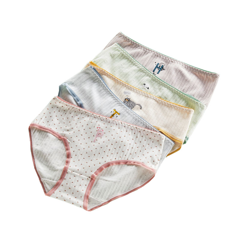 Girl's Underwear Cute Cartoon Animal Print Cotton Middle Waist Antibacterial Solid Color Underpants Youth briefs