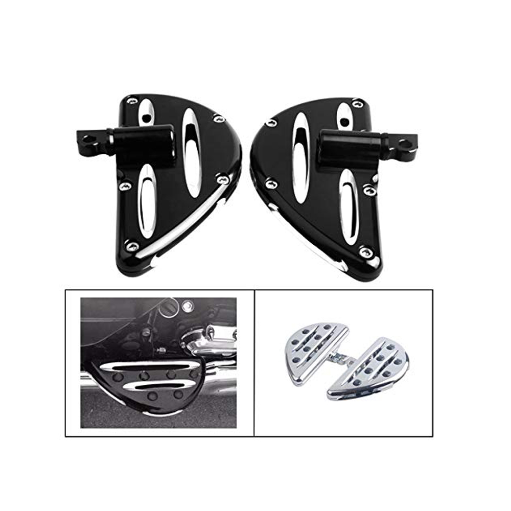 1 Pair Motorcycle Foot Pegs CNC Cut Front & Rear Foot Pegs Foot Rests Compatibility For Harley (Black Passenger Floorboards)