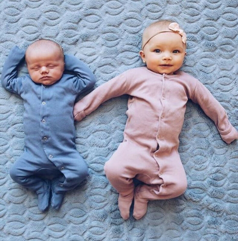 Solid Buttons Up Long Sleeve Newborn Baby Boy Sleeper Kids Infant Baby Boy Girl Blanket Sleep Play Suit