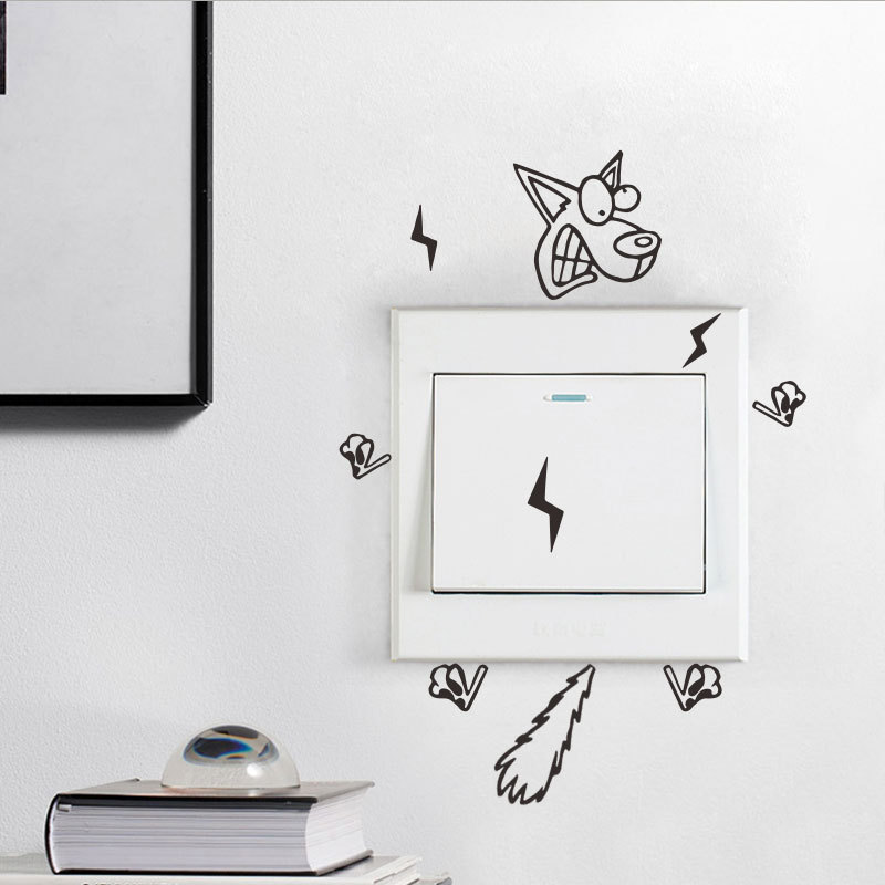 Cartoon Electric Shock Dog Switch Wall Sticker Kids Rooms Living Room Art Decals Removable Funny Switch Decoration Stickers