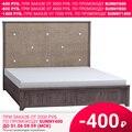 Кровать Карина Queen 307 (каркас) (Серо-коричневый, Микровелюр, Ясень анкор темный, 1600х2000 мм) Глазов