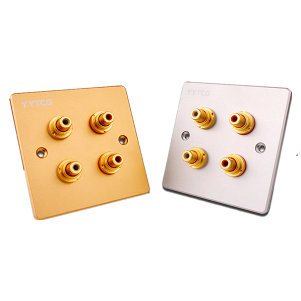 Hifi Female Audio Panel RCA Jack Gold Plated Speaker Terminal Plate Wall Socket Panel Mount Chassis Audio Socket TV Amplifier