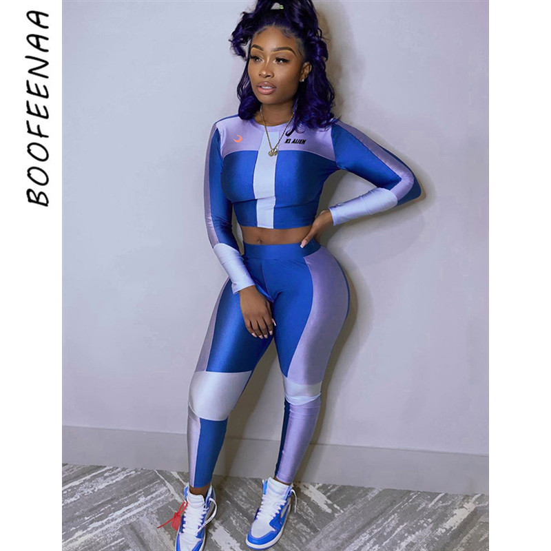 BOOFEENAA Sexy Tracksuit Women Clothes Two Piece Set Blue Bodycon Outfits Sweat Suits Sports Matching Sets Spring 2020 C87-AE55